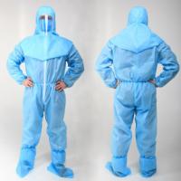 Медицинский защитный костюм синий, ламинированный (костюм, шлем и бахилы)
