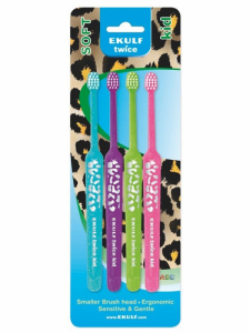 Набор зубных щеток EKULF Twice Kid (4 шт.) (510)