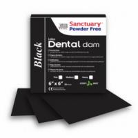 Коффердам латексный Sanctuary Dental Dam 152х152 мм, 36 шт (черный, мятный)