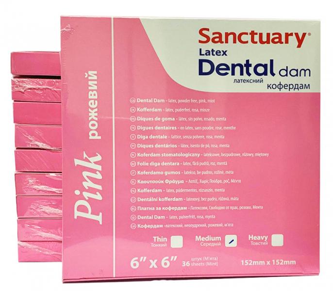 Коффердам латексный Sanctuary Pink Dental Dam 152х152 мм, 36 шт (латексный с ароматом мяты)