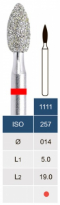 Бор алмазный Microdont 1111F (1.4 мм, пламевидный, красный)