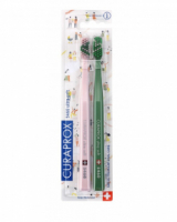 Набор зубных щеток Curaprox ultrasoft Love 2020 PINK & GREEN (d 0,10 мм, 2 шт)