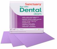 Коффердам без латекса Sanctuary Dental Dam 152х152 мм, 15 шт (пурпурный, мятный) средний (0,25 мм)