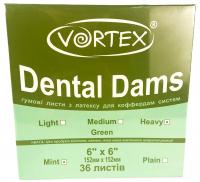 Платки для коффердама Vortex Dental Dams (зеленые)